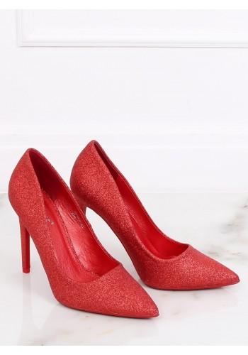 Dámské třpytivé lodičky na štíhlém podpatku v červené barvě