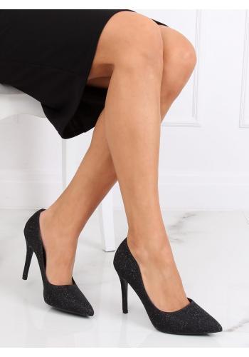 Třpytivé dámské lodičky černé barvy na štíhlém podpatku