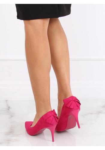 Růžové semišové lodičky na podpatku s mašlí pro dámy