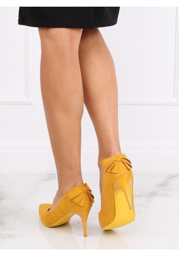 Dámské semišové lodičky na podpatku s mašlí ve žluté barvě