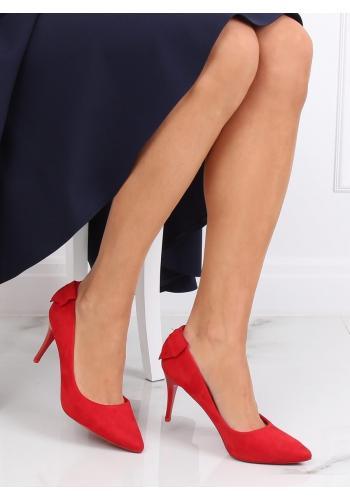 Semišové dámské lodičky červené barvy na podpatku s mašlí