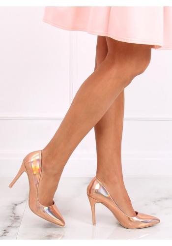 Růžovo-zlaté metalické lodičky na stabilním podpatku pro dámy