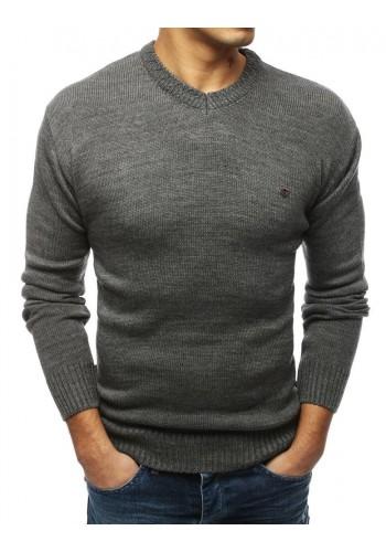 Tmavě šedý stylový svetr s výstřihem ve tvaru V pro pány