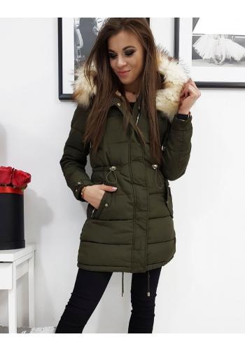 Prošívaná dámská bunda olivové barvy na zimu