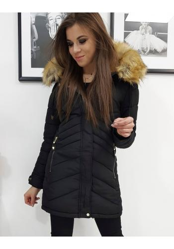 Dámská prošívaná bunda na zimu v černé barvě