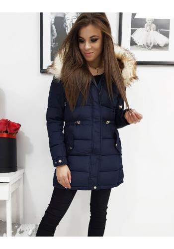 Dámská zimní bunda s kapucí v tmavě modré barvě