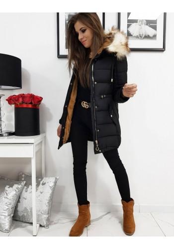 Černá zimní bunda s kapucí pro dámy