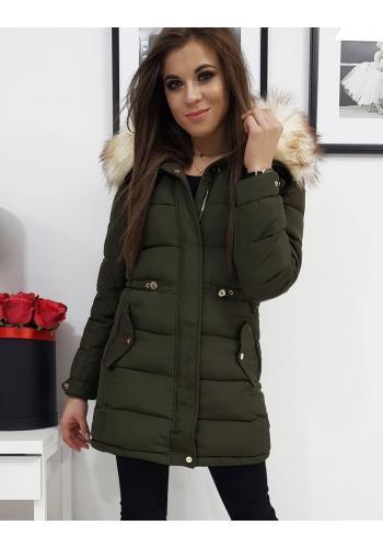 Zimní dámské bundy olivové barvy s kapucí