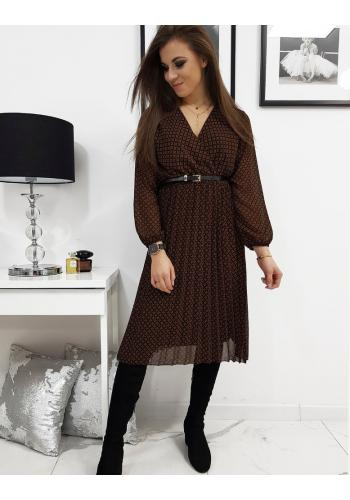 Dámské plisované šaty s obálkovým výstřihem v černé barvě