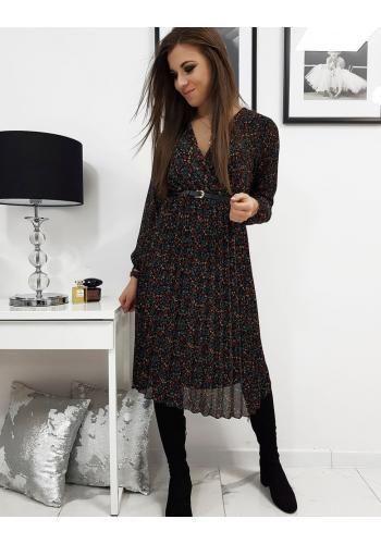 Černé plisované šaty s obálkovým výstřihem pro dámy