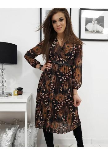 Plisované dámské šaty černé barvy s obálkovým výstřihem