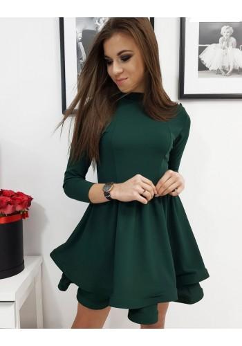 Dámské hladké šaty s rozšířenou sukní v zelené barvě