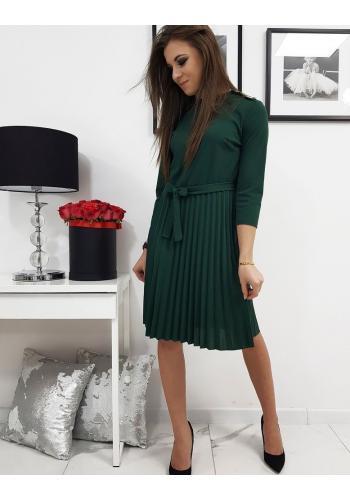 Dámské plisované šaty s vázáním v pase v zelené barvě