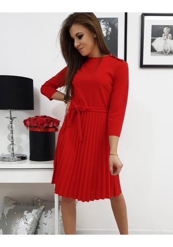Dámské plisované šaty s vázáním v pase v červené barvě