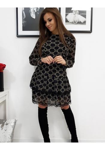Vzorované dámské šaty černé barvy s ozdobnou krajkou