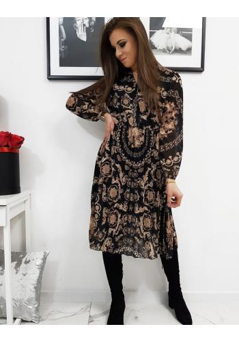 Černé plisované šaty se vzorem pro dámy