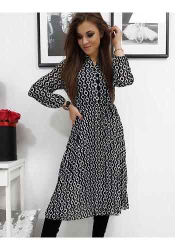 Plisované dámské šaty černé barvy se vzorem