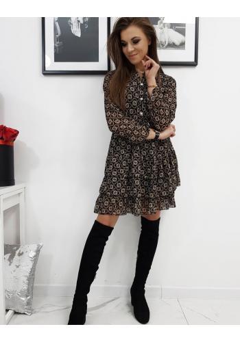 Dámské vzorované šaty s volány v černé barvě