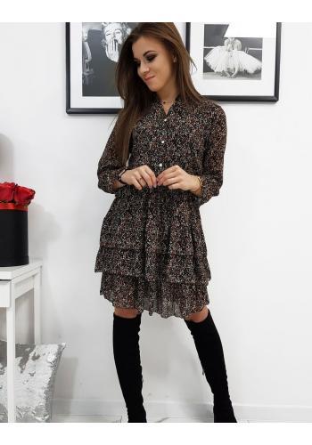Černé vzorované šaty s volány pro dámy