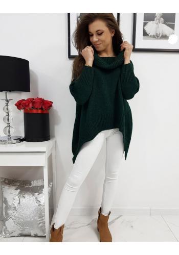 Módní dámský rolák zelené barvy s prodlouženými boky