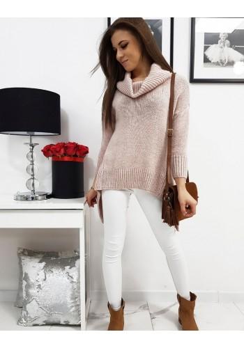 Dámský módní rolák s prodlouženými boky v růžové barvě