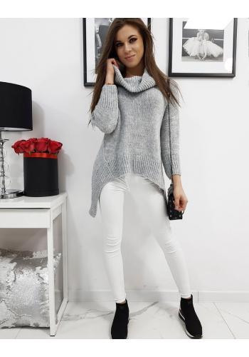 Světle šedý módní rolák s prodlouženými boky pro dámy