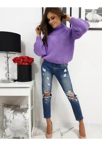 Dámský módní svetr s polrolákem ve fialové barvě