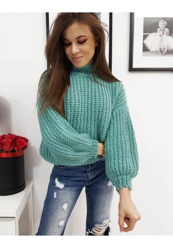 Mátový módní svetr s polrolákem pro dámy