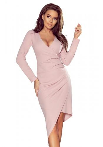 Starorůžové asymetrické šaty s výstřihem pro dámy