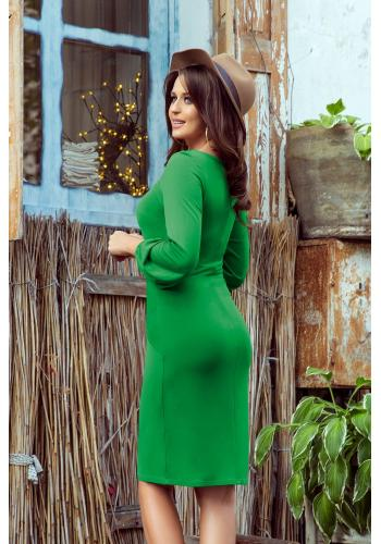 Pohodlné dámské šaty zelené barvy s vázáním v pase