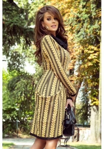 Vzorované dámské šaty žluto-černé barvy s rolákem