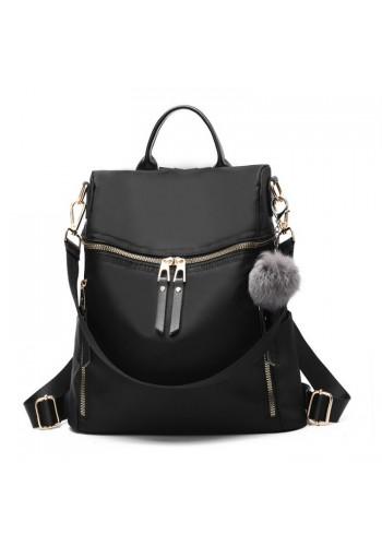 Černý elegantní batoh se zlatým zapínáním pro dámy