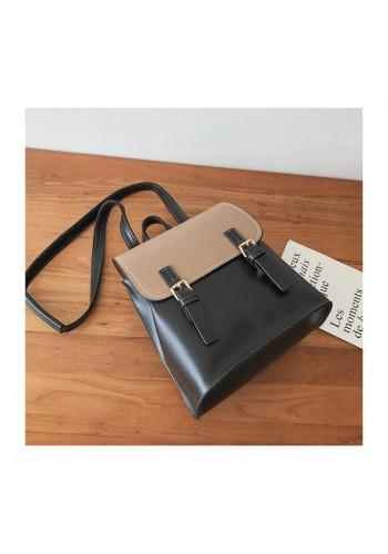 Elegantní dámský batoh černo-hnědé barvy s přezkami