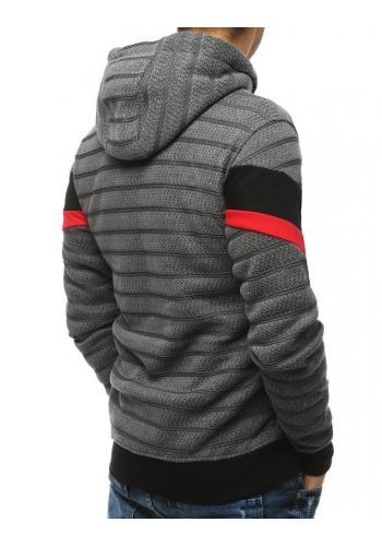 Pánská stylová mikina s potiskem v světle šedé barvě
