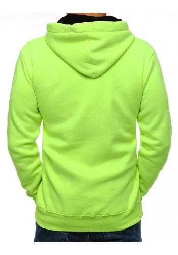 Módní pánská mikina zelené barvy s kapucí