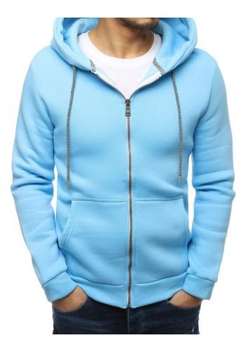 Klasická pánská mikina světle modré barvy s kapucí