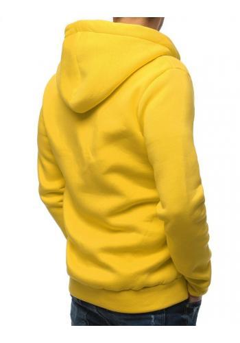 Pánská klasická mikina s kapucí ve žluté barvě