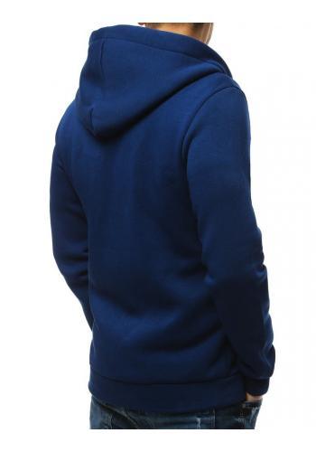 Pánská klasická mikina s kapucí v modré barvě
