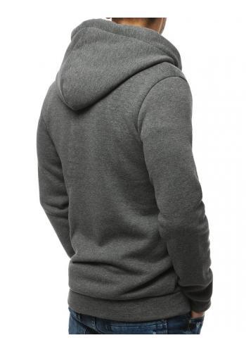 Klasická pánská mikina tmavě šedé barvy s kapucí