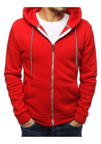 Pánské klasické mikiny s kapucí v červené barvě