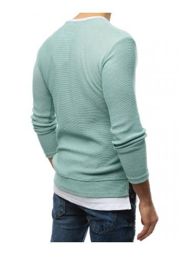 Pánský módní svetr s rozparky na bocích v mátové barvě