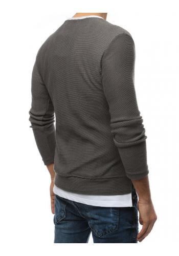 Módní pánský svetr tmavě šedé barvy s rozparky na bocích