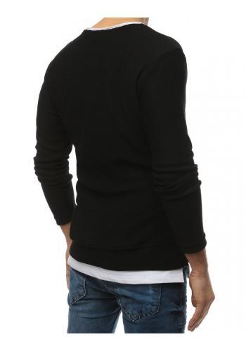 Černý módní svetr s rozparky na bocích pro pány