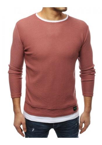 Pánský módní svetr s rozparky na bocích v růžové barvě