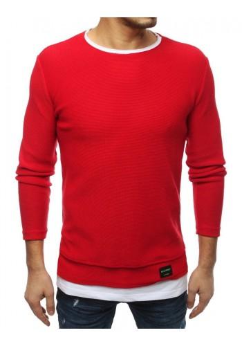 Módní pánský svetr červené barvy s rozparky na bocích