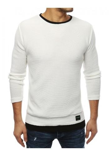 Bílý módní svetr s rozparky na bocích pro pány
