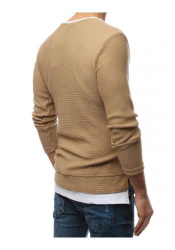 Pánské módní svetry s rozparky na bocích v hnědé barvě