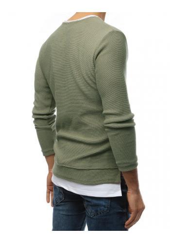 Módní pánský svetr kaki barvy s rozparky na bocích