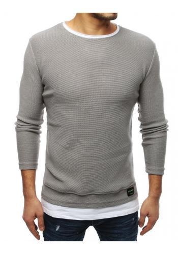Světle šedý módní svetr s rozparky na bocích pro pány