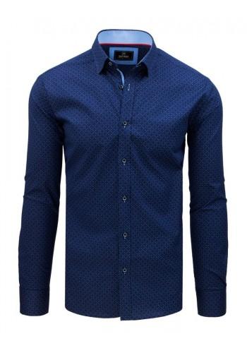 Modrá vzorovaná košile s dlouhým rukávem pro pány